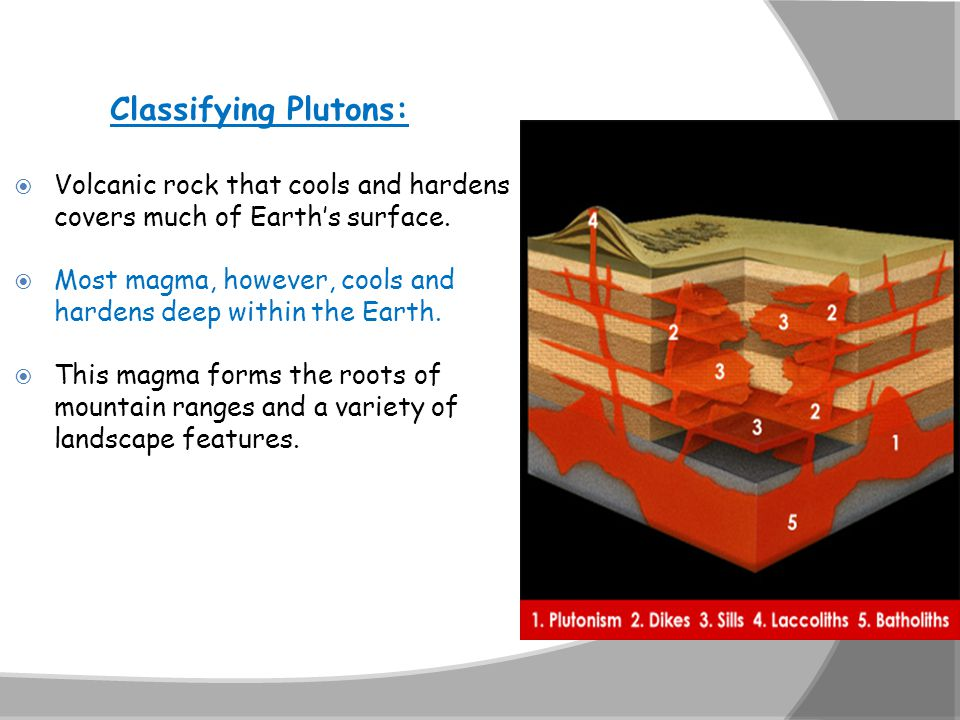 Classifying Plutons: Volcanic rock that cools and hardens covers much of Earth's surface.