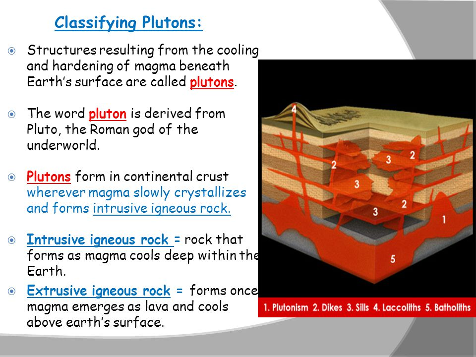 Classifying Plutons: Structures resulting from the cooling and hardening of magma beneath Earth's surface are called plutons.