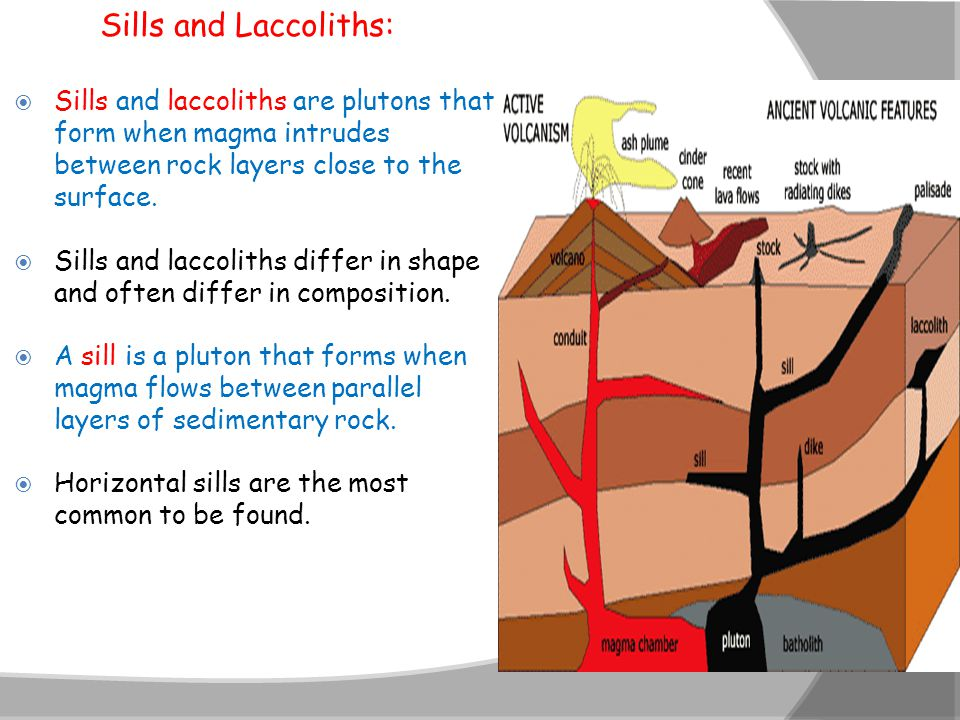 Sills and Laccoliths: Sills and laccoliths are plutons that form when magma intrudes between rock layers close to the surface.