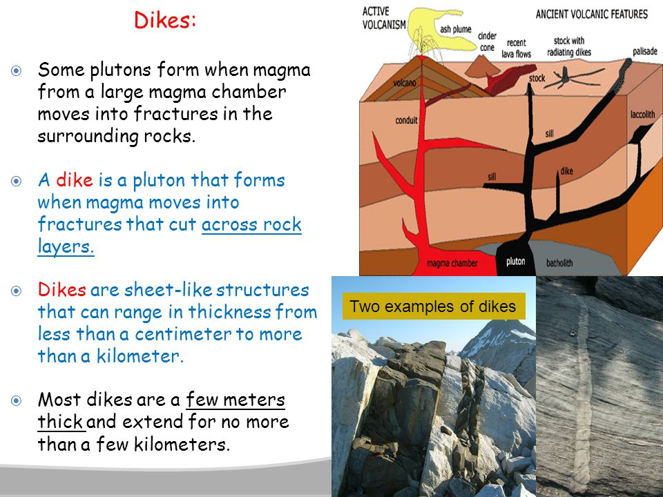 Dikes: Some plutons form when magma from a large magma chamber moves into fractures in the surrounding rocks.