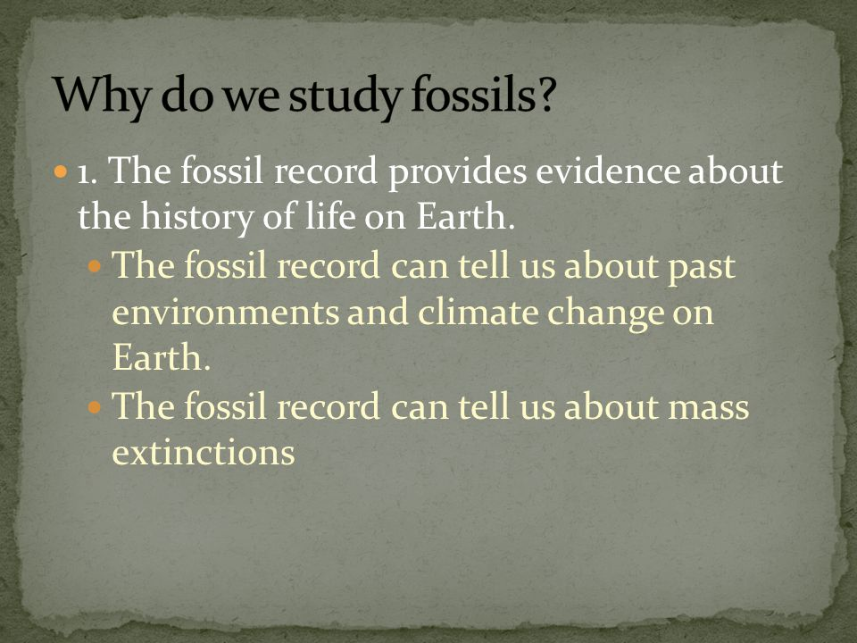 Why do we study fossils 1. The fossil record provides evidence about the history of life on Earth.