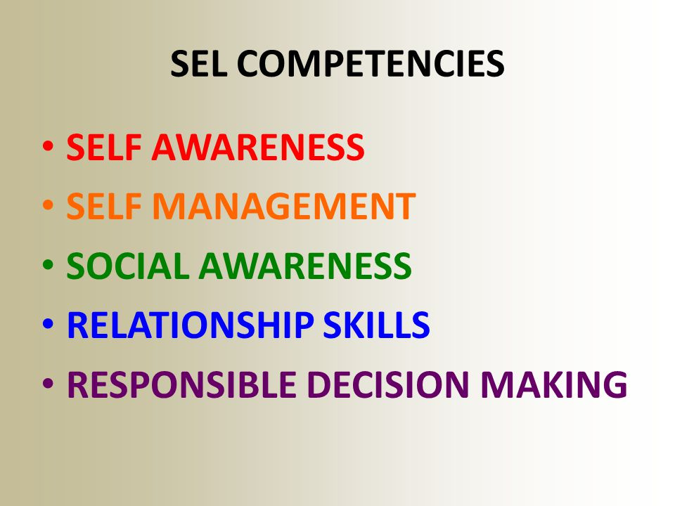 SEL COMPETENCIES SELF AWARENESS. SELF MANAGEMENT.