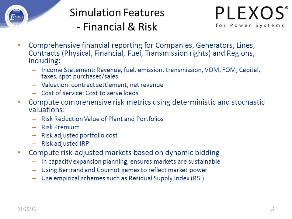 Simulation Features - Financial & Risk