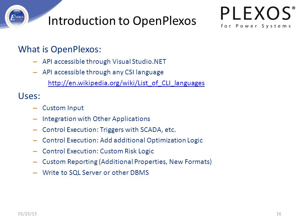 Introduction to OpenPlexos