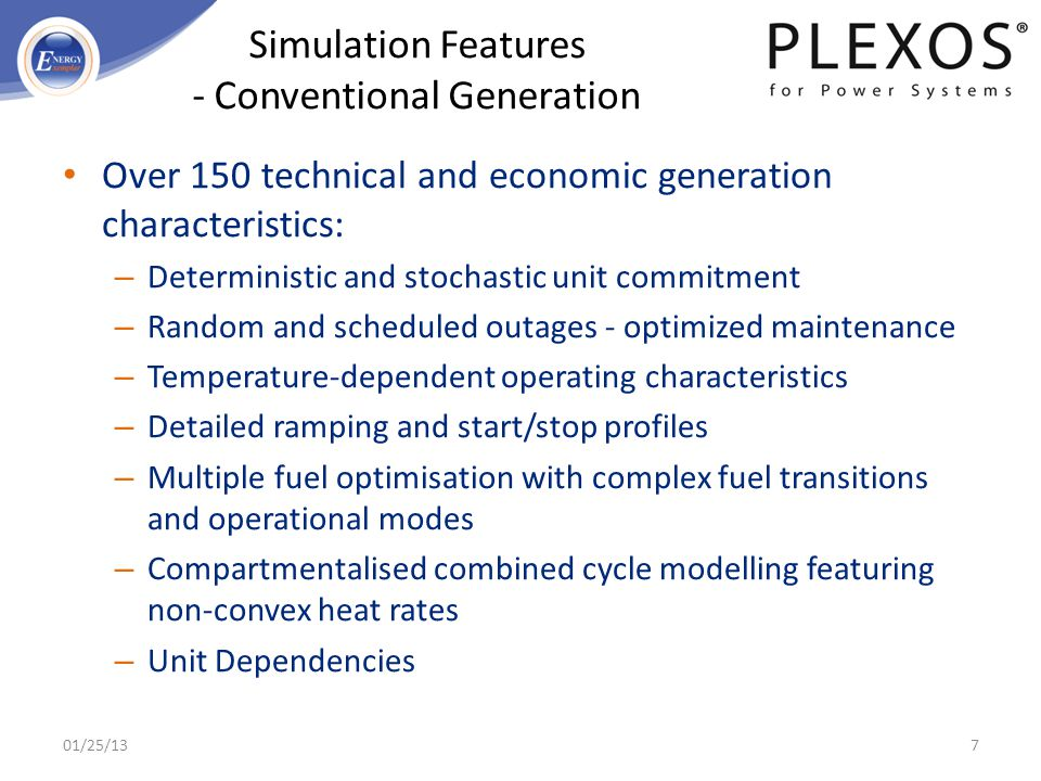 Simulation Features - Conventional Generation