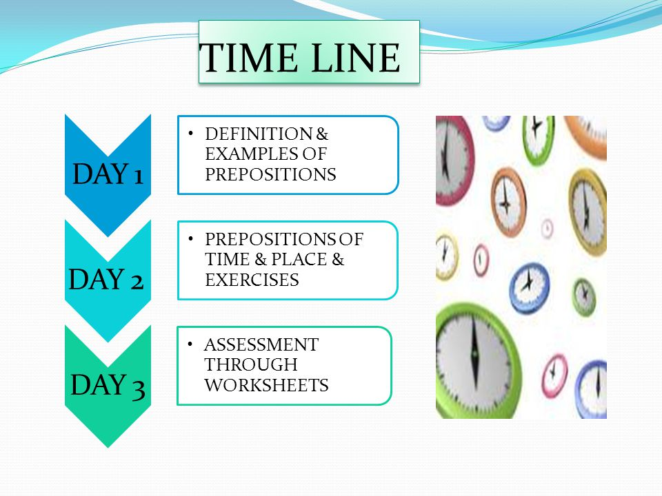 TIME LINE DAY 1 DEFINITION & EXAMPLES OF PREPOSITIONS DAY 2