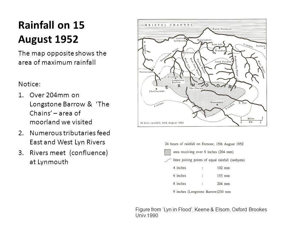 Rainfall on 15 August 1952 The map opposite shows the area of maximum rainfall. Notice: