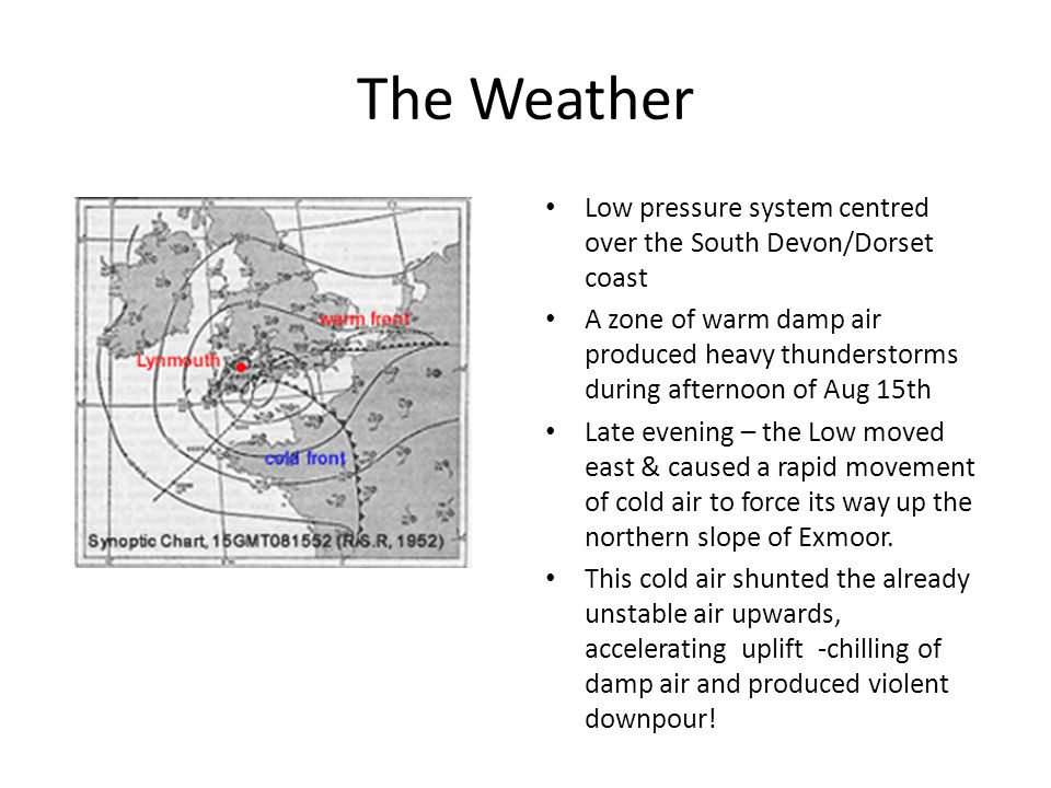 The Weather Low pressure system centred over the South Devon/Dorset coast.
