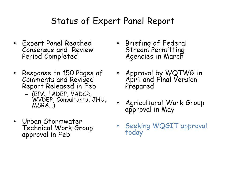 Status of Expert Panel Report