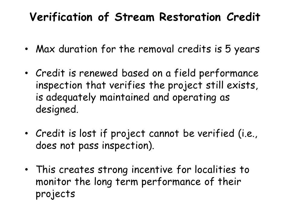 Verification of Stream Restoration Credit