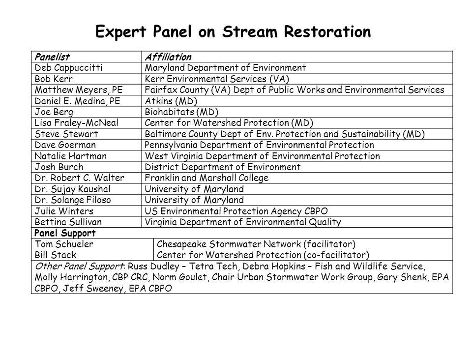 Expert Panel on Stream Restoration