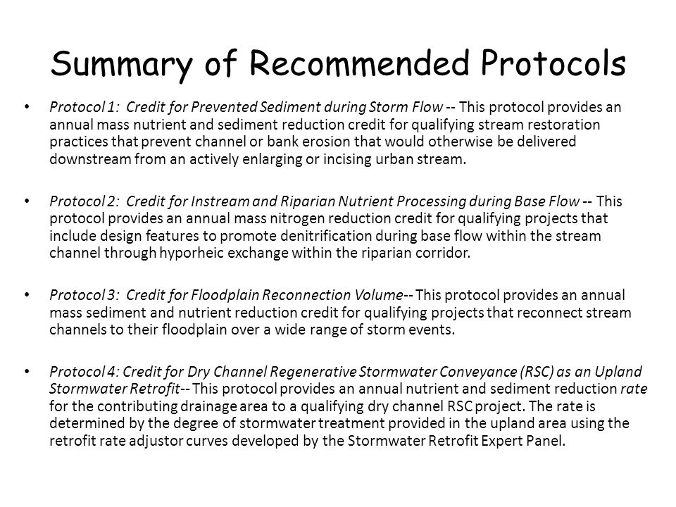 Summary of Recommended Protocols