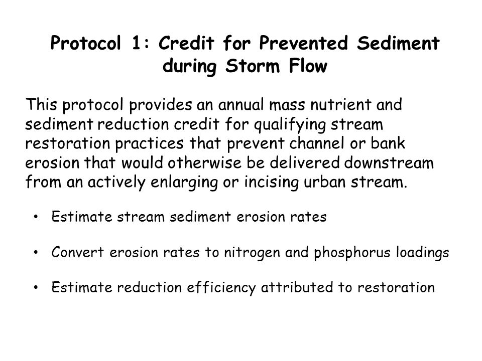 Protocol 1: Credit for Prevented Sediment during Storm Flow