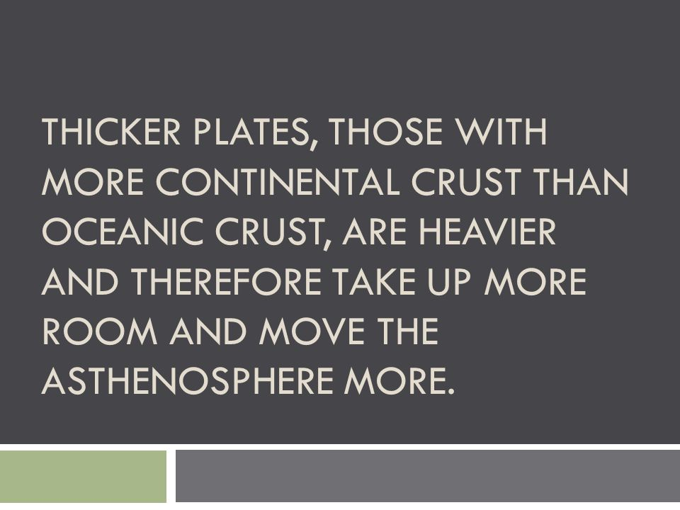 Thicker plates, those with more continental crust than oceanic crust, are heavier and therefore take up more room and move the asthenosphere more.