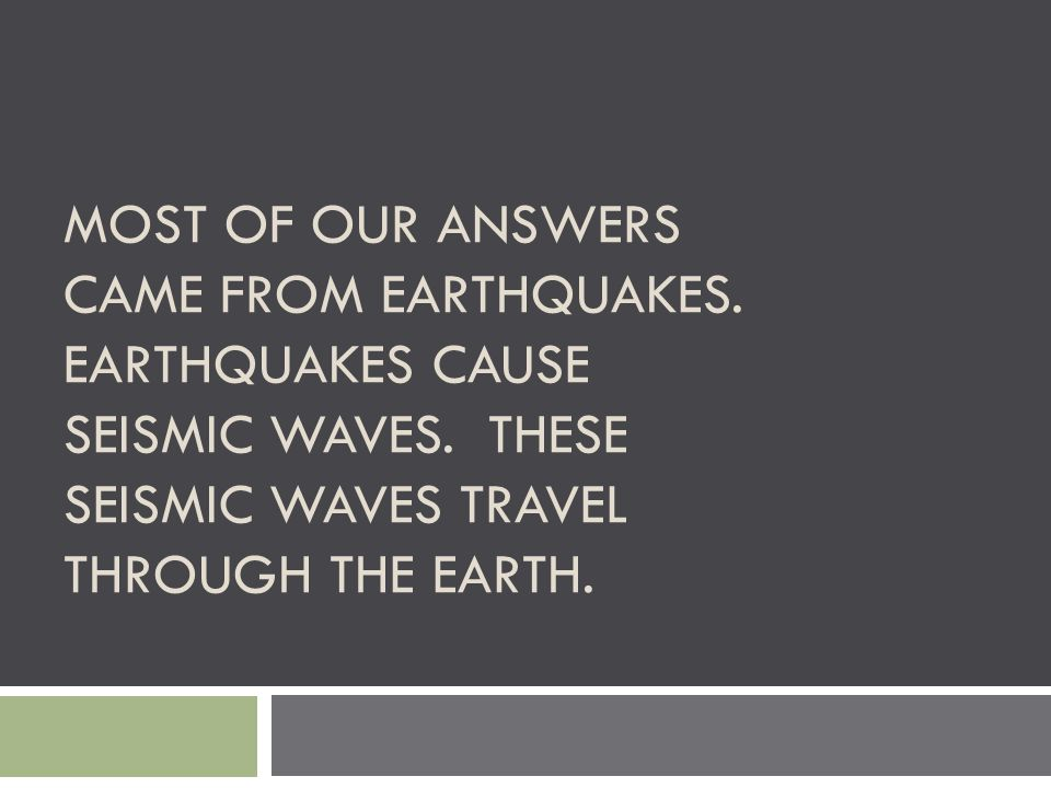 Most of our answers came from Earthquakes