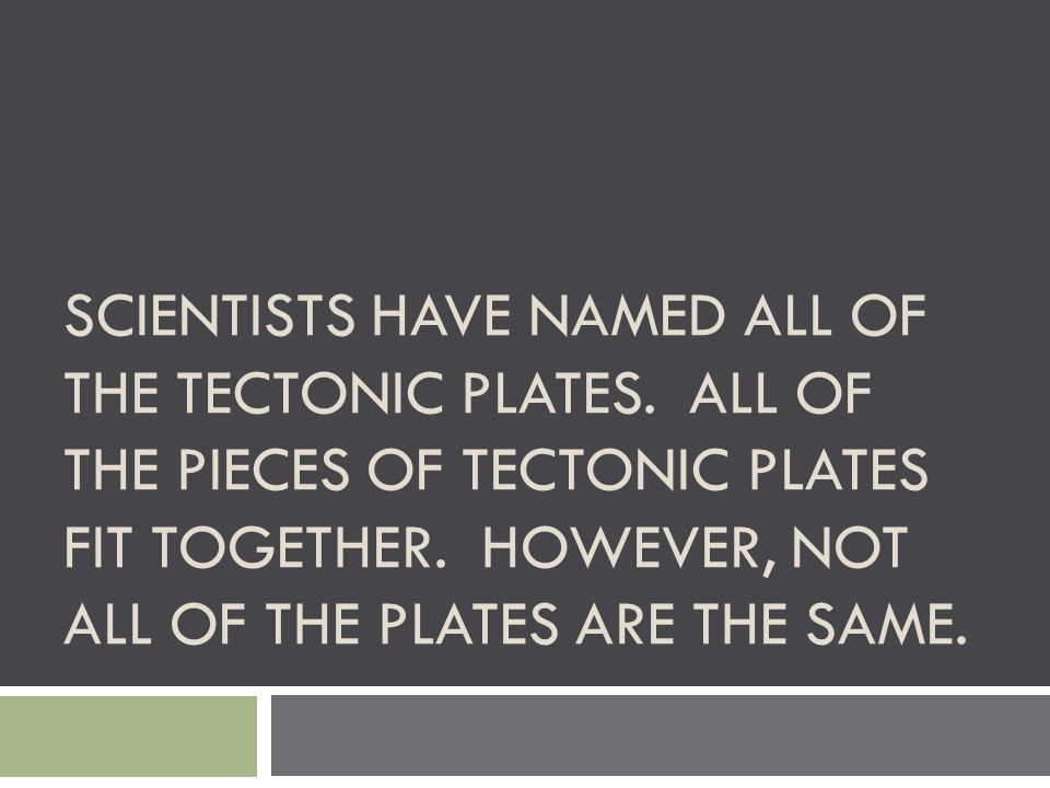 Scientists have named all of the tectonic plates