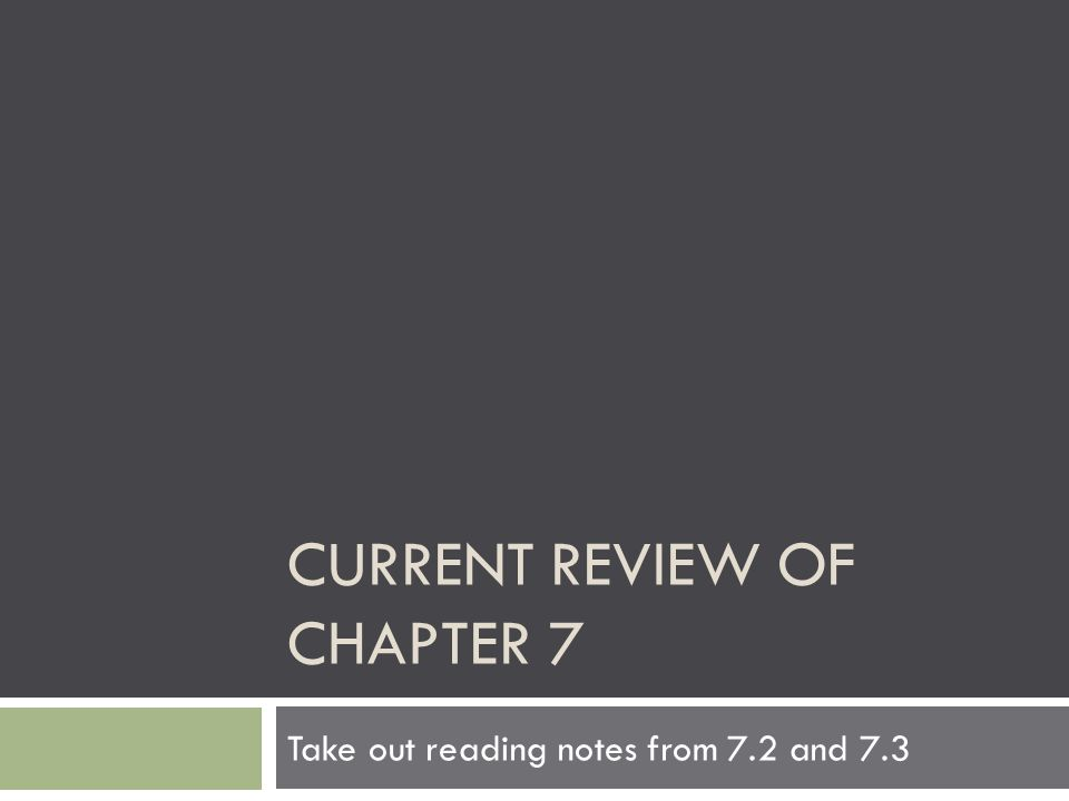 Current review of chapter 7