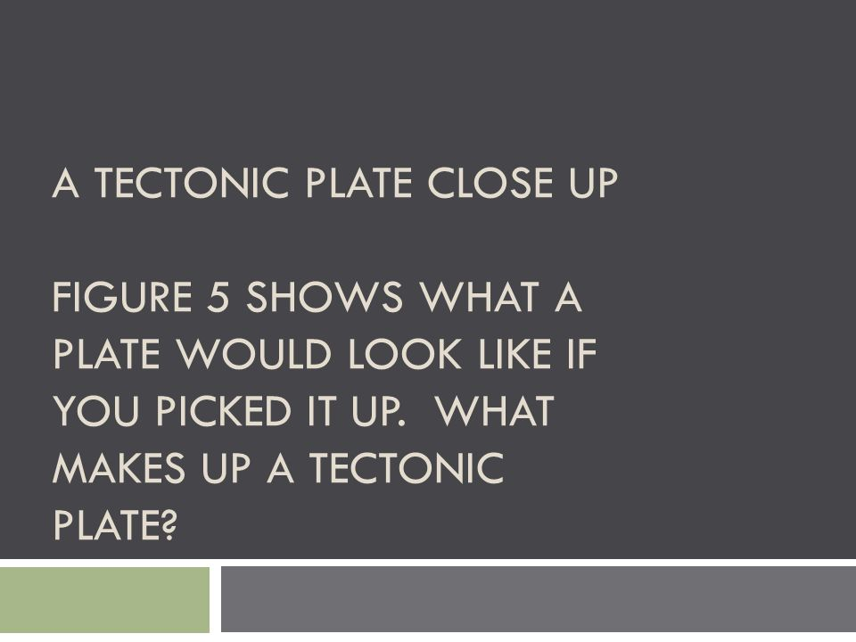 A Tectonic Plate close up Figure 5 shows what a plate would look like if you picked it up.