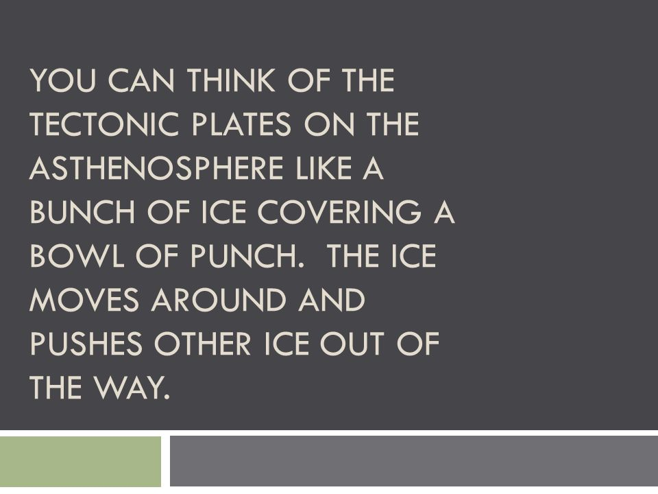You can think of the tectonic plates on the asthenosphere like a bunch of ice covering a bowl of punch.