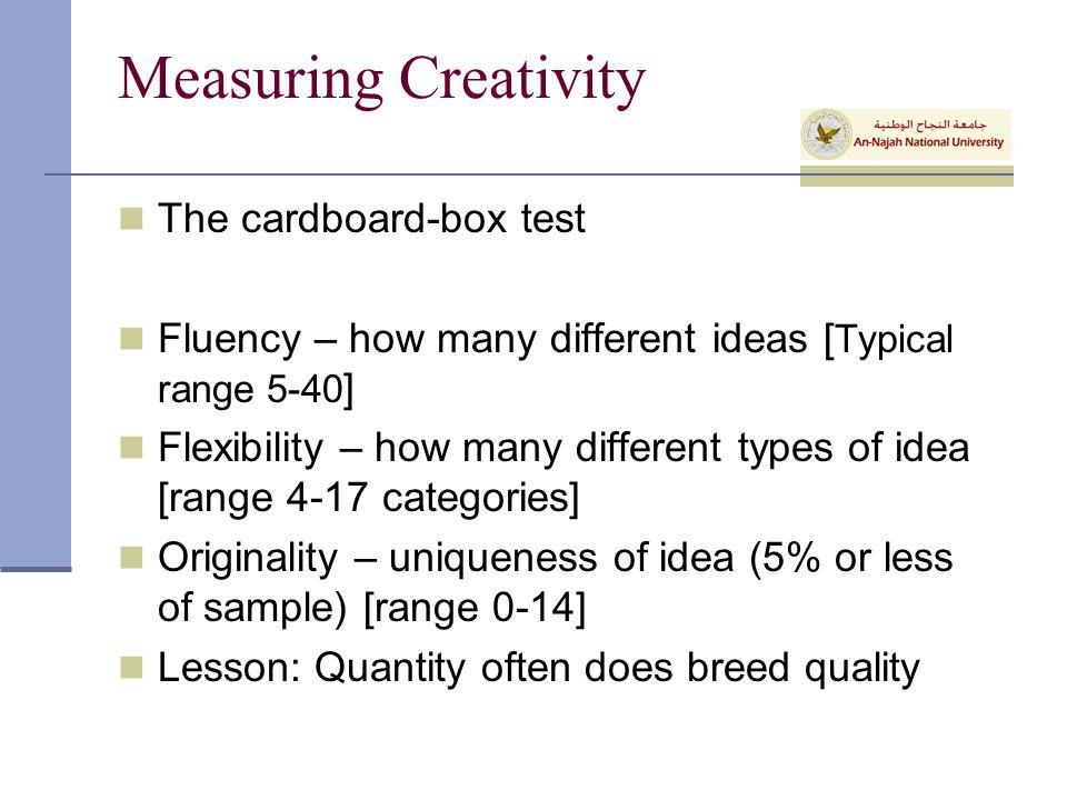 Measuring Creativity The cardboard-box test