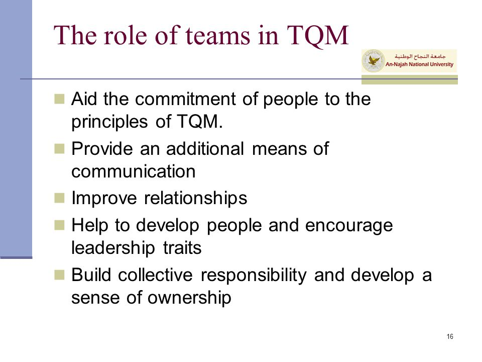The role of teams in TQM Aid the commitment of people to the principles of TQM. Provide an additional means of communication.