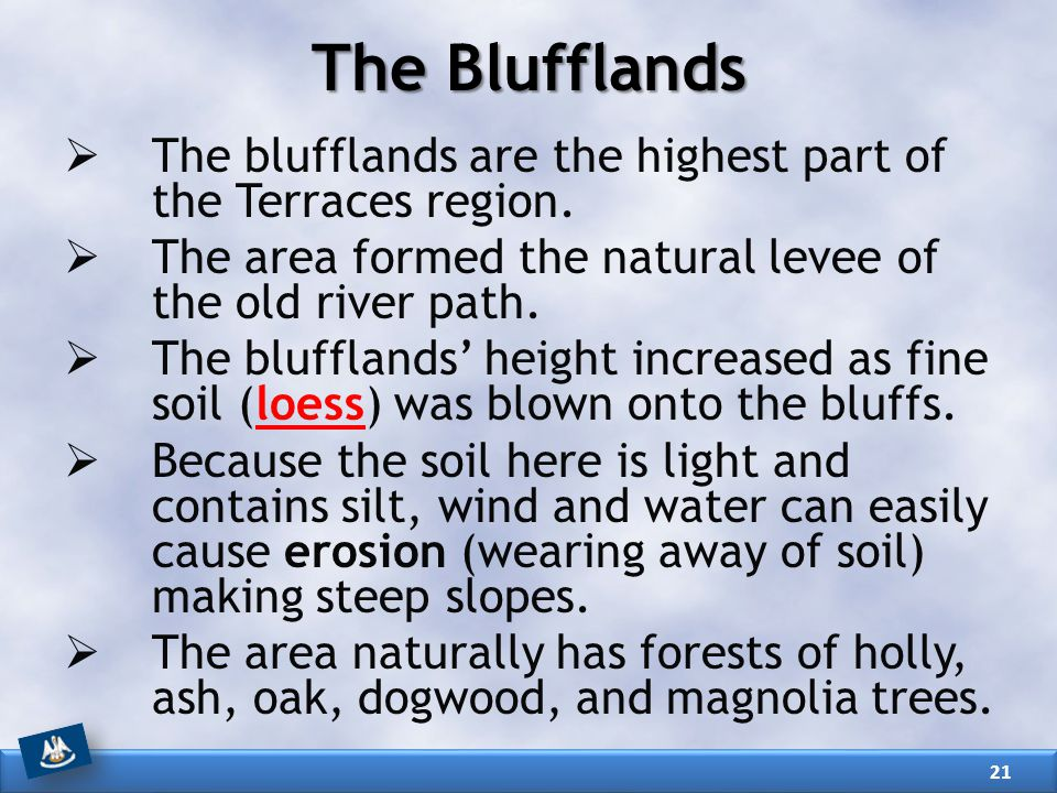 The Blufflands The blufflands are the highest part of the Terraces region. The area formed the natural levee of the old river path.
