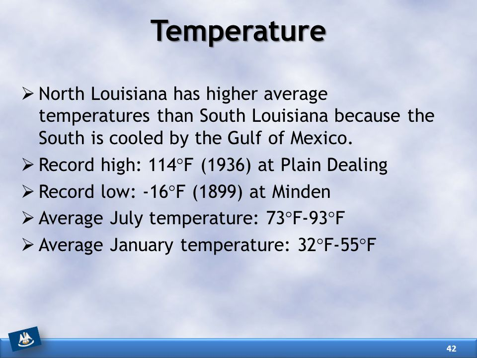 Temperature North Louisiana has higher average temperatures than South Louisiana because the South is cooled by the Gulf of Mexico.