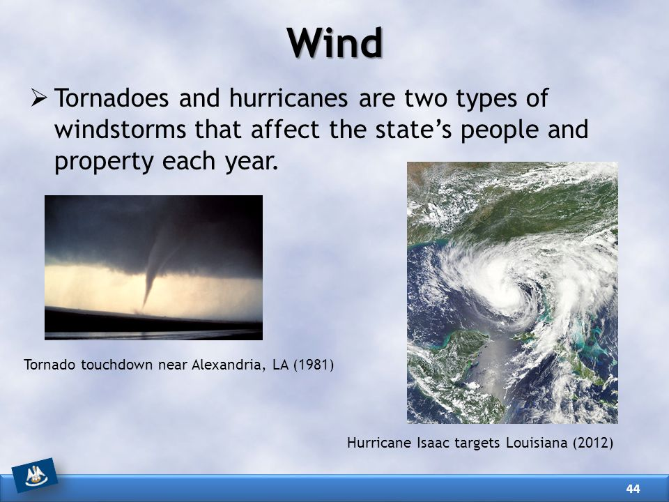 Wind Tornadoes and hurricanes are two types of windstorms that affect the state's people and property each year.
