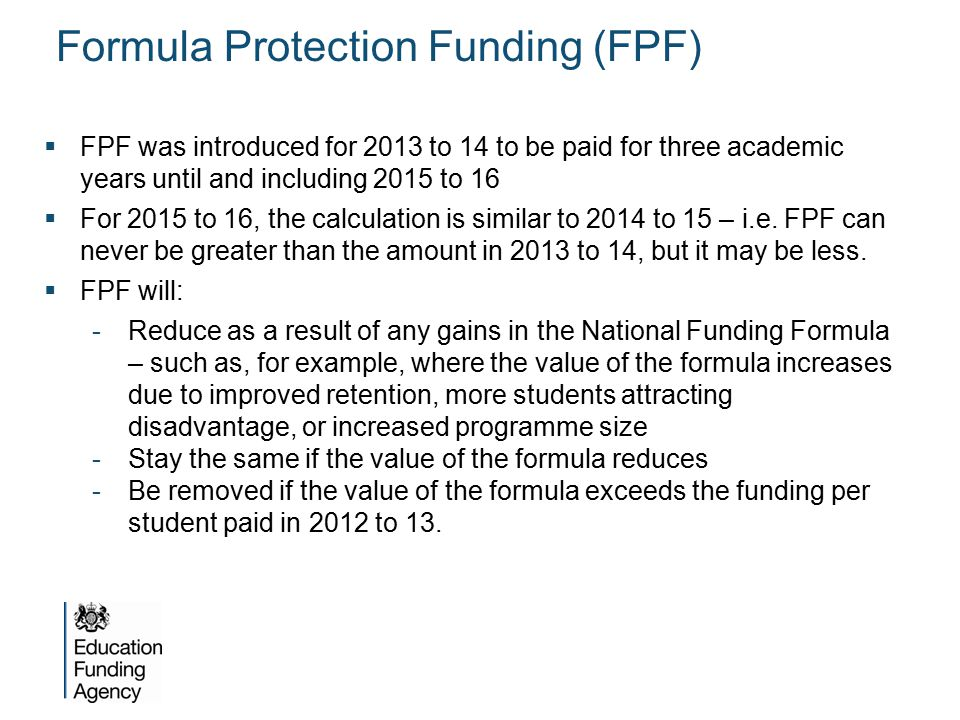 Formula Protection Funding (FPF)