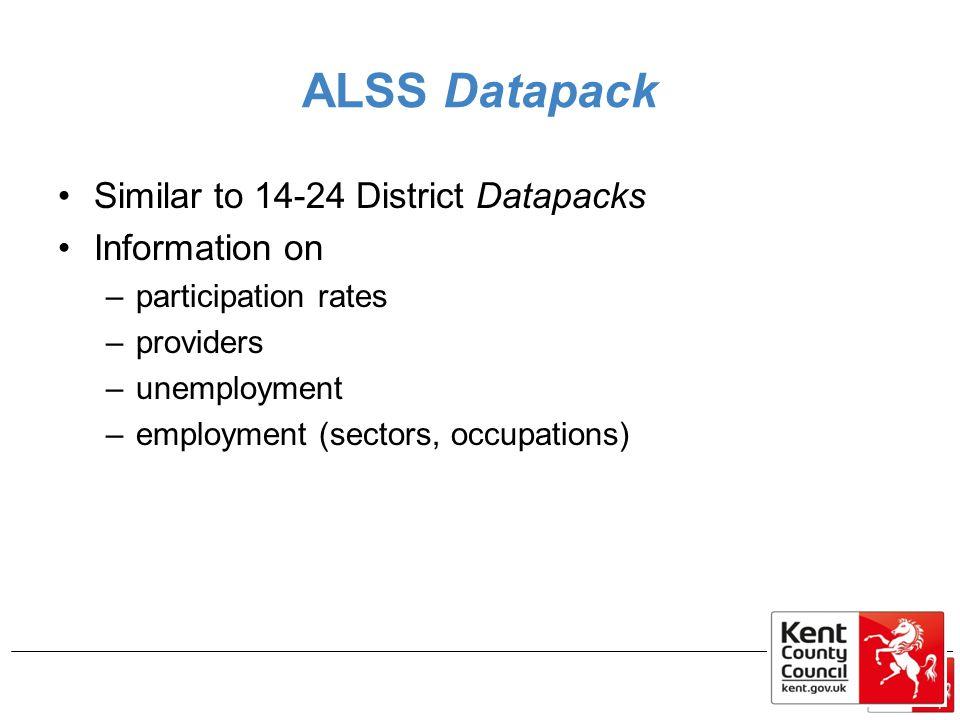 ALSS Datapack Similar to 14-24 District Datapacks Information on