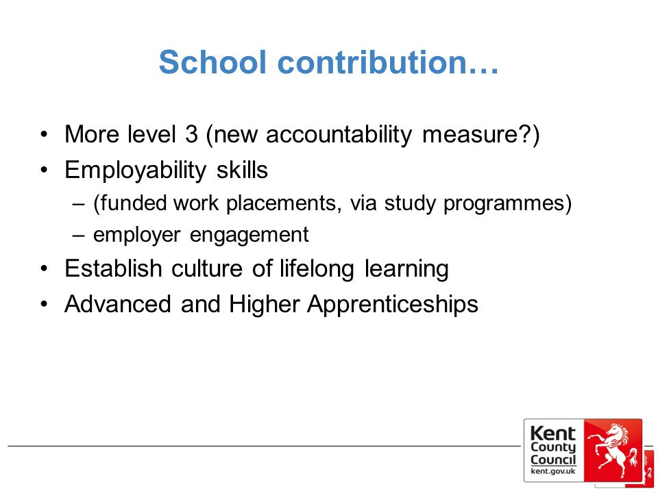 School contribution… More level 3 (new accountability measure )