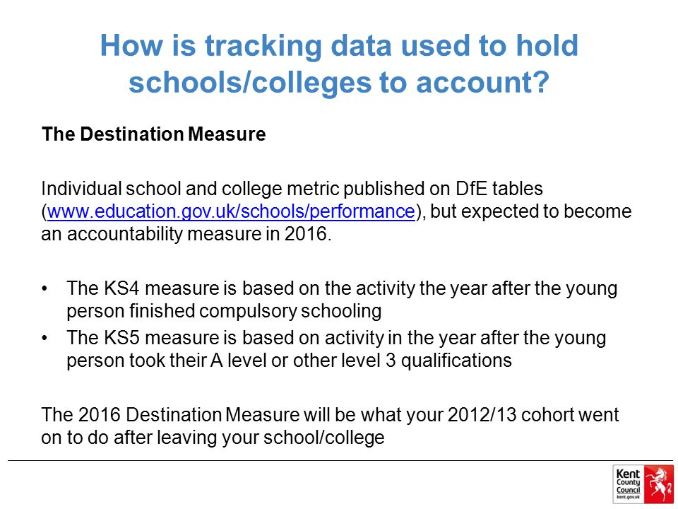 How is tracking data used to hold schools/colleges to account