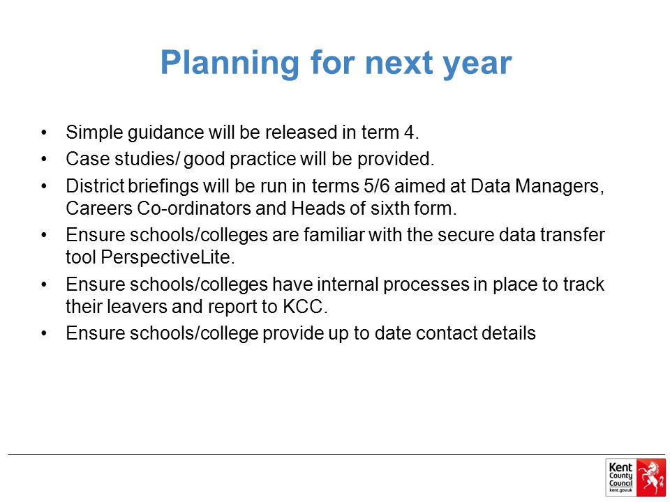 Planning for next year Simple guidance will be released in term 4.