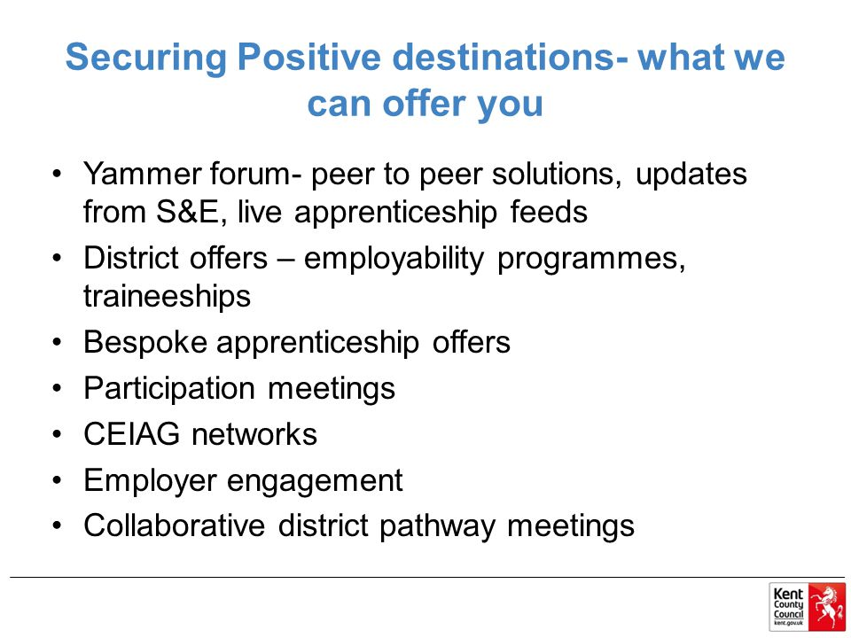 Securing Positive destinations- what we can offer you