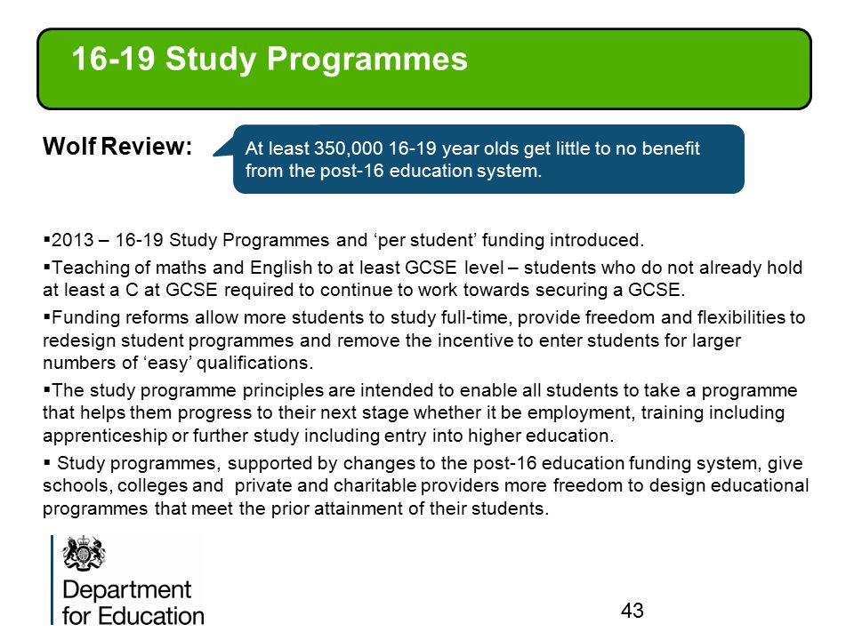 16-19 Study Programmes Wolf Review: