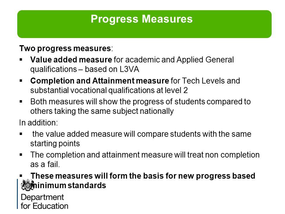 Progress Measures Two progress measures:
