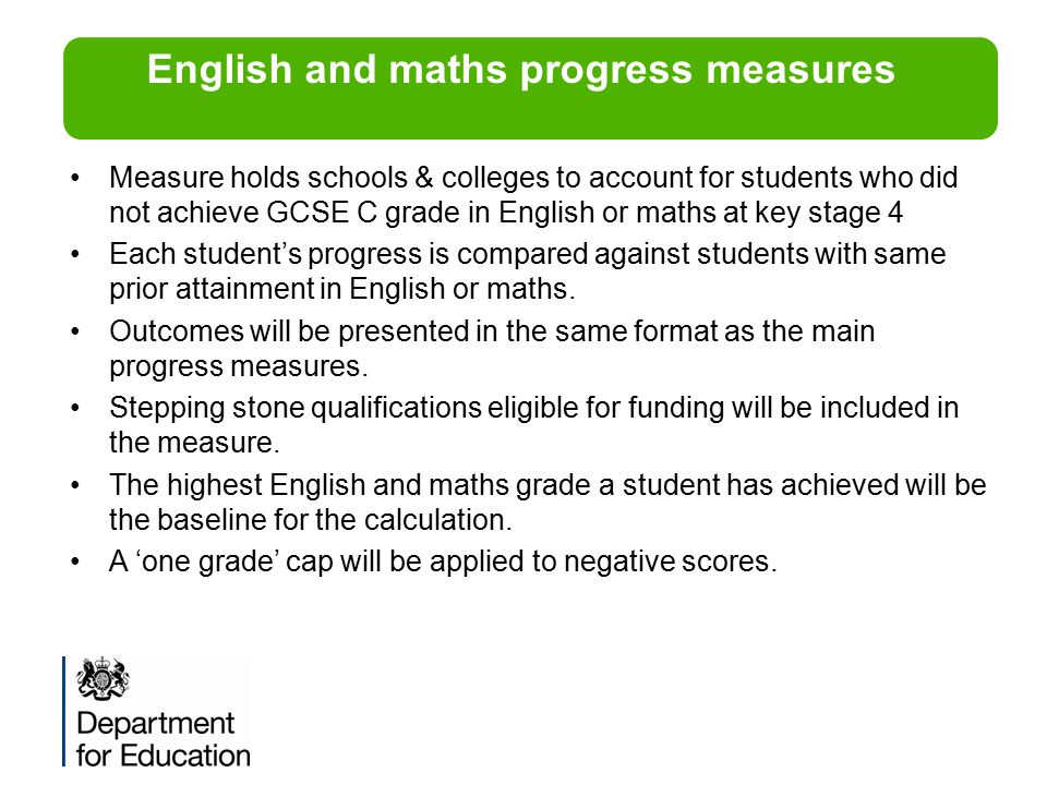 English and maths progress measures