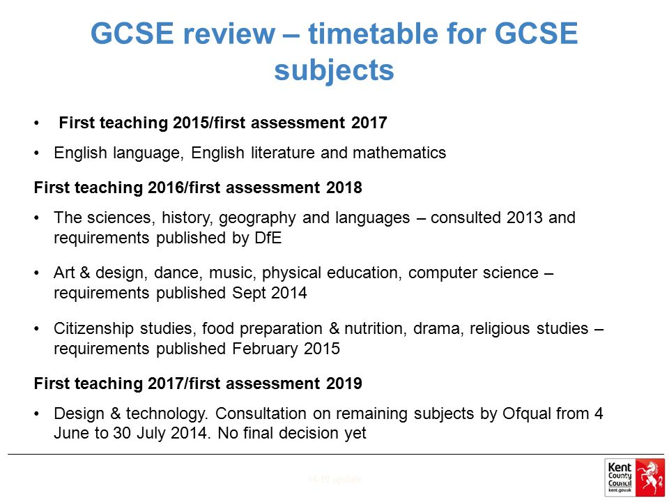 GCSE review – timetable for GCSE subjects