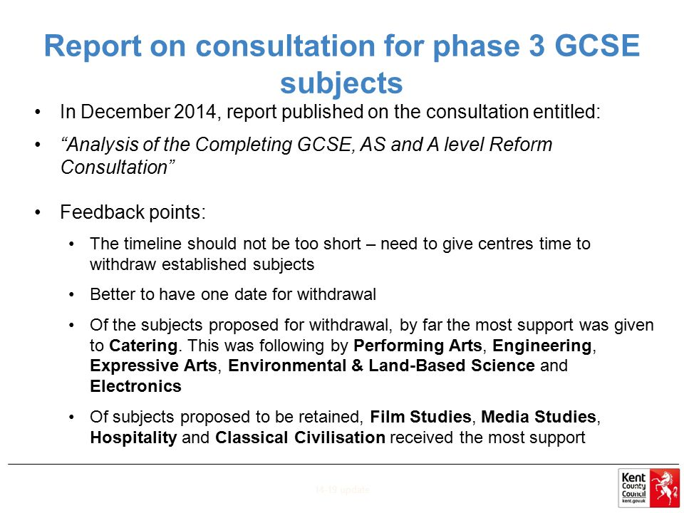 Report on consultation for phase 3 GCSE subjects