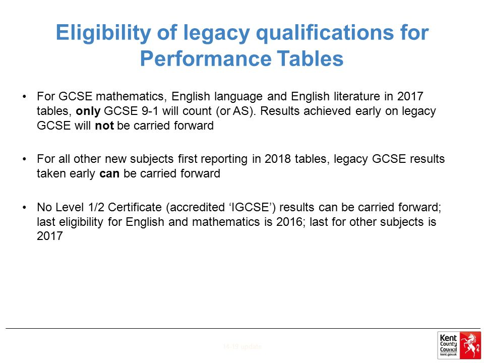 Eligibility of legacy qualifications for Performance Tables
