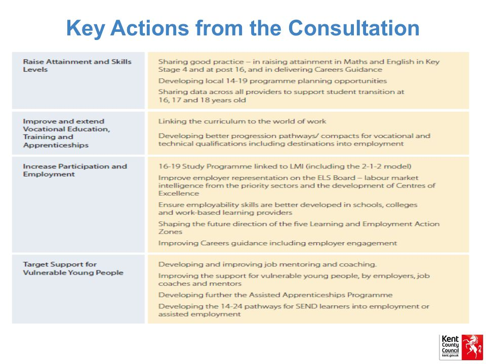 Key Actions from the Consultation