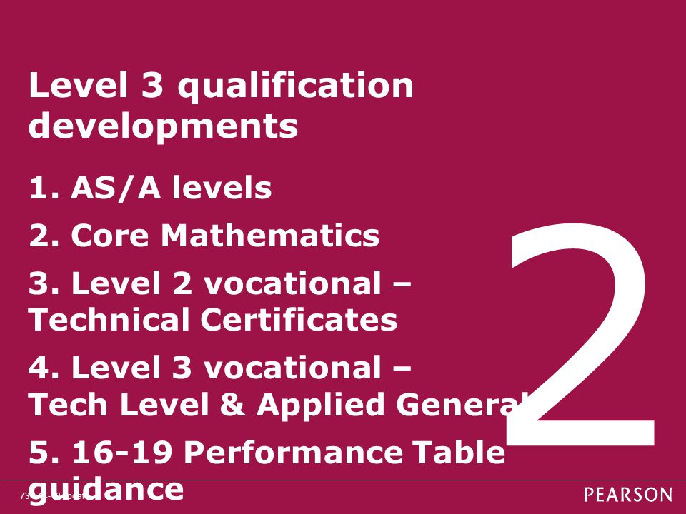 Level 3 qualification developments 1. AS/A levels 2. Core Mathematics 3. Level 2 vocational – Technical Certificates 4. Level 3 vocational – Tech Level & Applied General 5. 16-19 Performance Table guidance