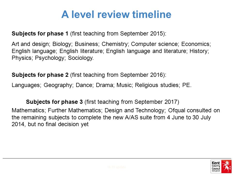 A level review timeline