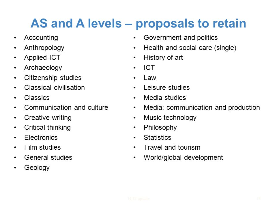AS and A levels – proposals to retain