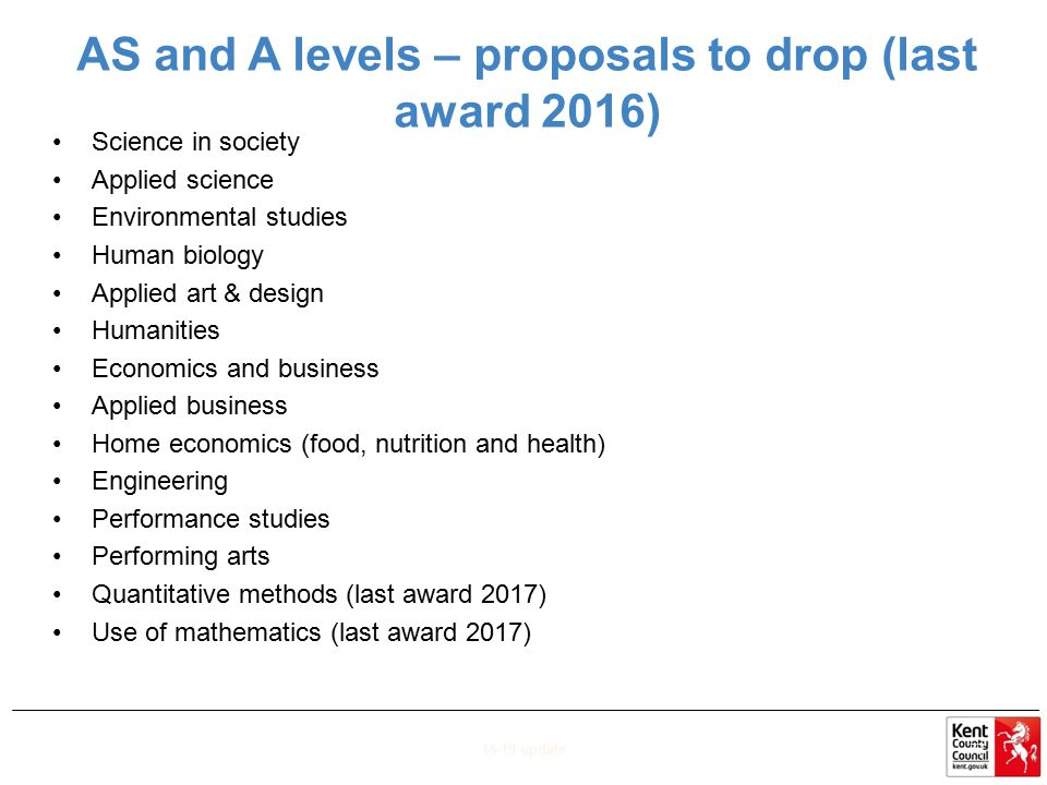 AS and A levels – proposals to drop (last award 2016)