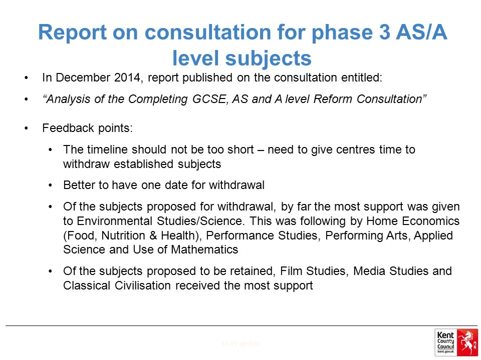 Report on consultation for phase 3 AS/A level subjects