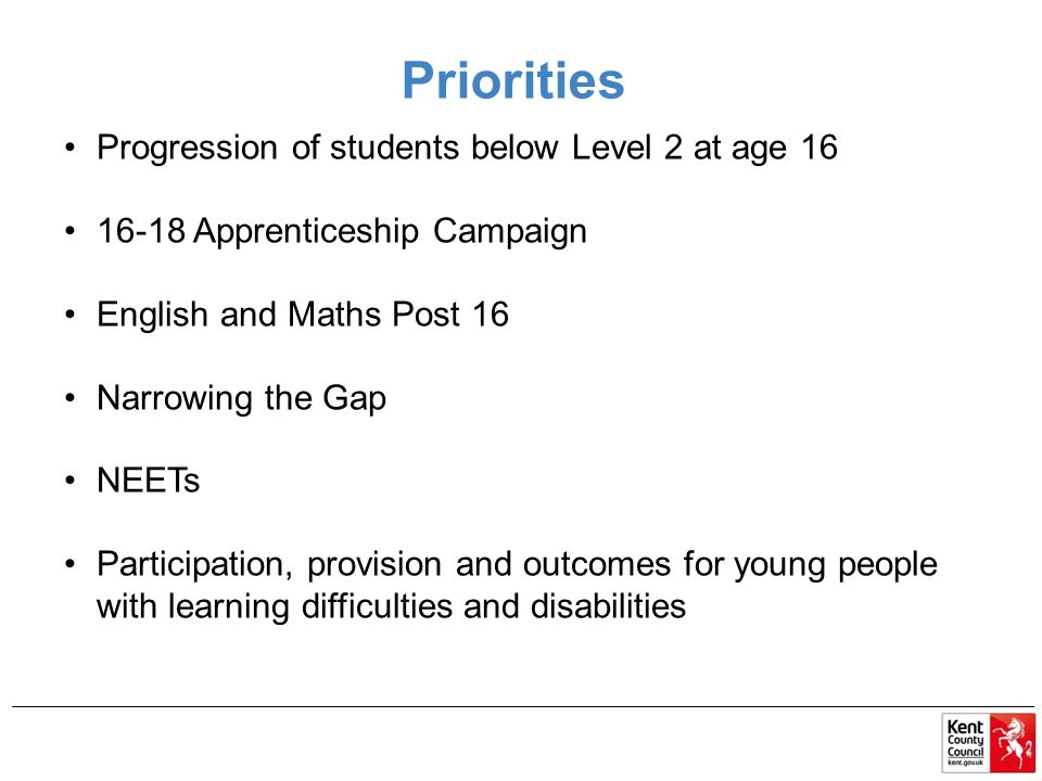 Priorities Progression of students below Level 2 at age 16