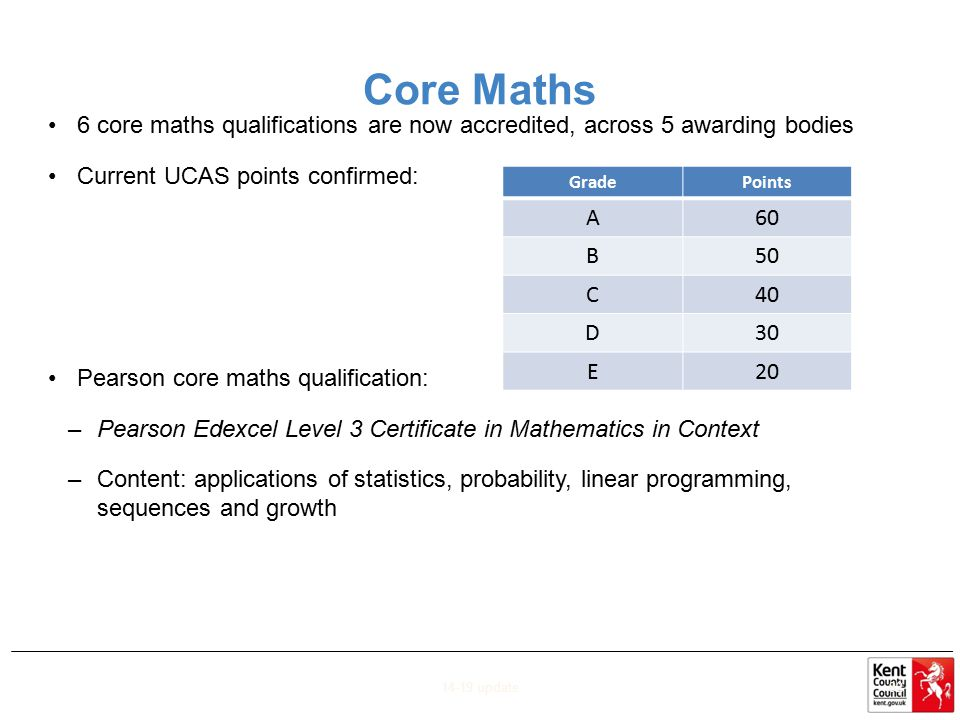 Core Maths 6 core maths qualifications are now accredited, across 5 awarding bodies. Current UCAS points confirmed: