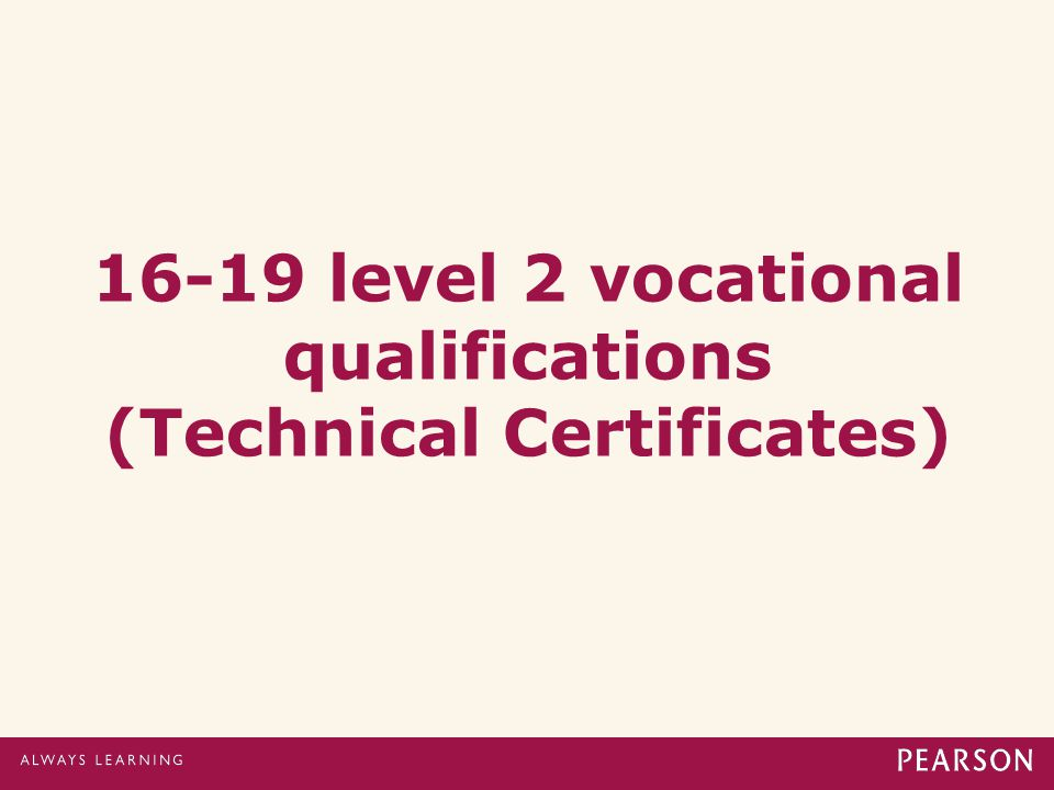 16-19 level 2 vocational qualifications (Technical Certificates)