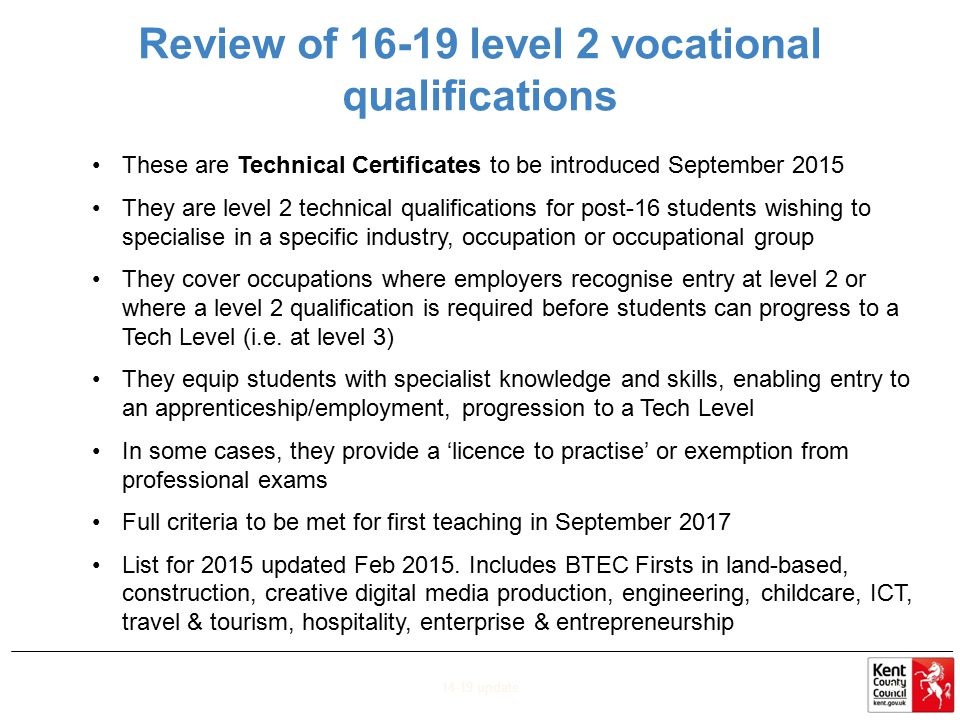 Review of 16-19 level 2 vocational qualifications